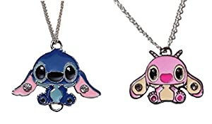 "Lilo & Stitch Movie STITCH & ANGEL Characters 2 PENDANT SET on 18"" Chains"