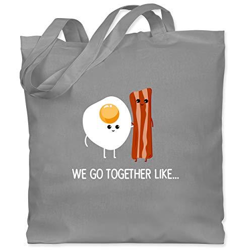 Shirtracer Valentinstag - we go together like. Bacon, Egg - Unisize - Hellgrau - Geschenk - WM101 - Stoffbeutel aus Baumwolle Jutebeutel lange Henkel