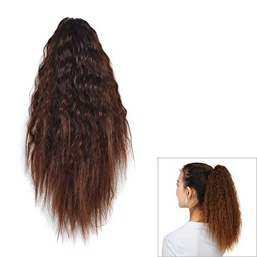 WJH Natural Retro Short Curly Hair Clip-on Corn Blanching Horsetail Wig (Black) (Color : Marron)