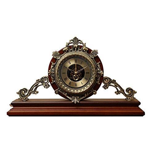 Nueva actualización Reloj de Escritorio con números Romanos Reloj de Esfera Movimiento Transparente Reloj de Chimenea Reloj de Manto Retro Relojes a Pilas para decoración de dormitorios (Co