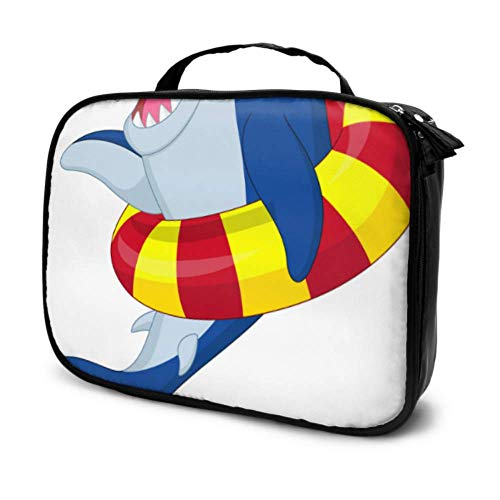 Dibujos animados lindos niños tiburón gafas de sol viaje hombre artículos de tocador bolsa de maquillaje cosméticos bolsa de viaje multifunción impresa bolsa para mujeres