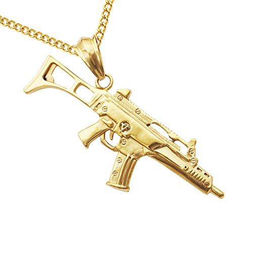 MagiDeal Colgante Collar Forma de Pistola de Acero Inoxidable Regalo de Hombres CS Juego - Oro