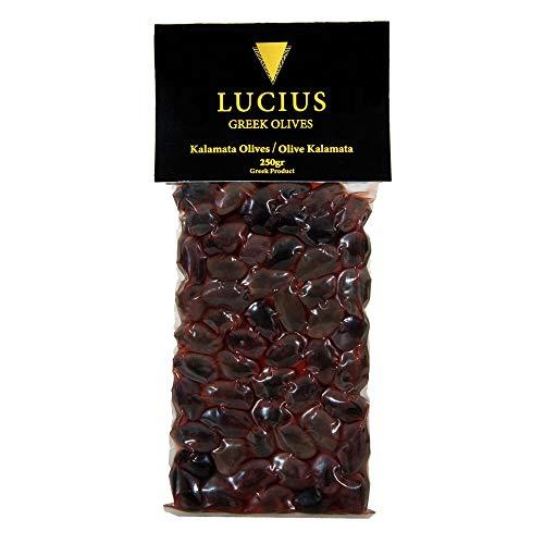 Lucius - Olive Nere Kalamata Intere – 250g – Olive Kalamata grandi con nocciolo – Olive Greche della Varietà Kalamon