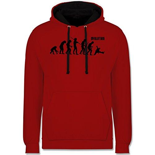 Shirtracer Evolution - Evolution Breakdance - XS - Rot/Schwarz - Breakdance Hoodie - JH003 - Hoodie zweifarbig und Kapuzenpullover für Herren und Damen