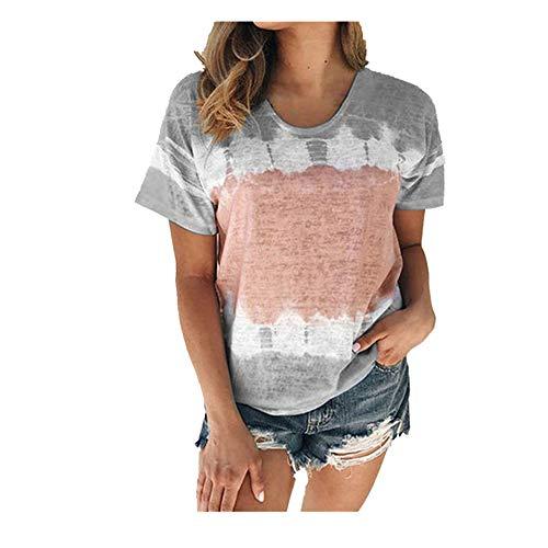 NOBRAND - Camiseta de manga corta para mujer con cuello redondo suelto para primavera y verano, para mujer Gris gris M