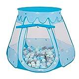 Selonis Baby Spielzelt Mit Plastikbällen Zelt 105X90cm/200 Bälle Plastikkugel Kinder, Blau:Perle-Grau-Transparent-Babyblau-Mint
