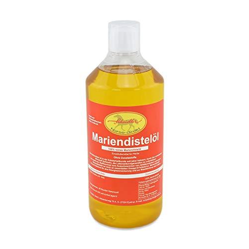 Scheidler horse-direkt Mariendistelöl 1L für Pferde, Hunde & Katzen – Natürliche Nahrungsergänzung & kaltgepresst – Reich an Omega 6 und Vitamin E – inkl. Dosierkappe