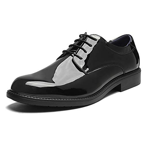 Bruno Marc Men's Downing-02 Black Pat Leather Lined Dress Oxford Shoes - 11 M US
