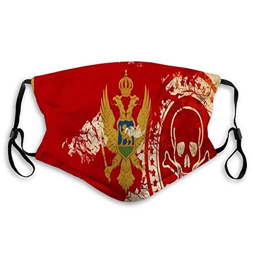 Gesicht S hield Bandana Kopfbedeckung Schal Mund Scraf mit 2 Filter Mund Scraf Gesicht CVoer Montenegro Flagge mit einigen weichen Highlights und Falten