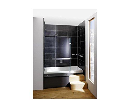 Repabad Stairway Dusch Badewanne 170 Nische mit Glaswand Wannenträger Kombiwanne mit Rotaplex Trio mit Wassereinlauf rechts ohne RepaGrip ohne Stufe mit Wandgriff