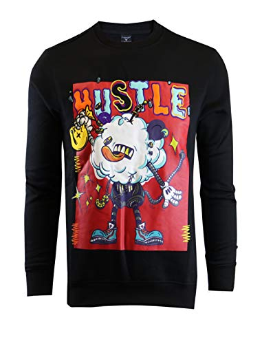 SCREENSHOTBRAND Mens Urban Hip Hop Premium Fleece – Pullover Active Urbanwear Street Fashion Crew Neck Sweatshirt
