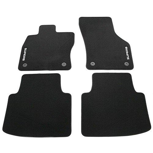 Skoda 3V1061404B Textil Fußmatten 4X Stoffmatten schwarz mit SUPERB Schriftzug