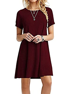 POSESHE Women's Short Sleeve Casual Loose T-Shirt Dress