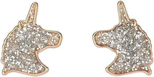 CHOUCHOU Collier Pendentif Mode Une Paire Unicorn Boucles d'oreilles for Les Filles Cadeaux Cristal Party Bijoux, Nom Couleur: Licorne, Argent. Cadeau de Noel (Color : Unicorn Gold)