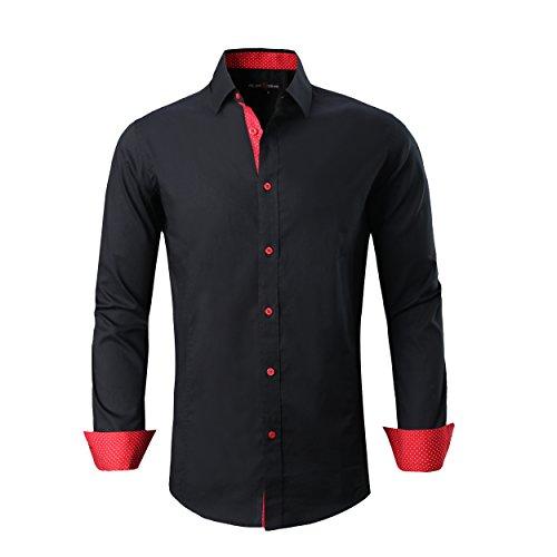 Alex Vando Mens Dress Shirts Regular Fit Long Sleeve Men Shirt,Black,X Large