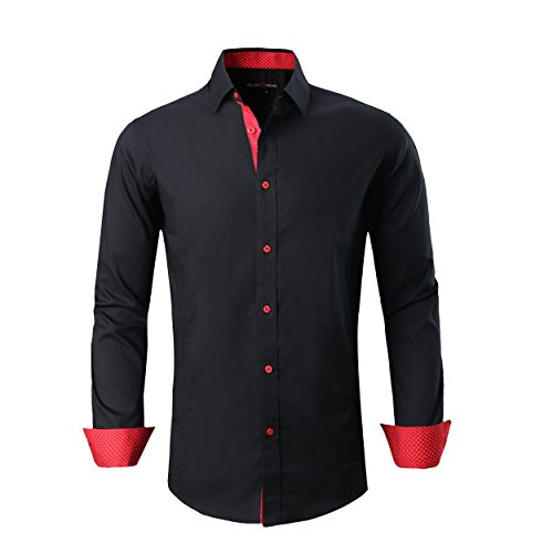 Alex Vando Mens Dress Shirts Regular Fit Long Sleeve Men Shirt,Black,Medium