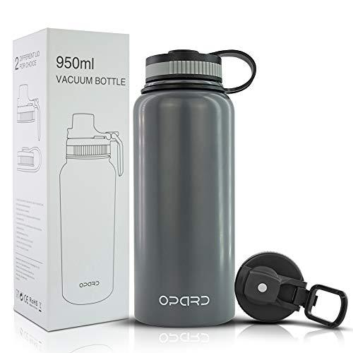Opard Edelstahl Trinkflasche,Thermoskanne 950ml,Doppelwandige Edelstahl Wasserflasche,Vakuum Isolierflasche,Auslaufsicher Thermosflasche,aus Titan,BPA-frei (Grau)