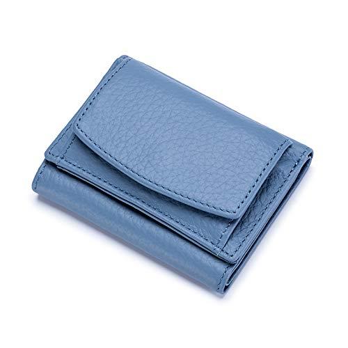 FORRICA Portafoglio Donna Piccolo in Vera Pelle RFID Blocco Carte Portafogli Corto Elegante Borsellino Portamonete a Tre Ante con Confezione Regalo Blu