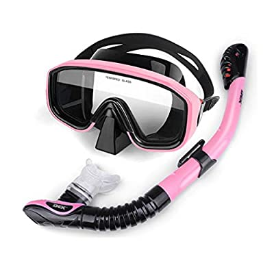 CUUYQ Adjustable Snorkel Mask, Scuba Mask Anti-Leak Diving Mask Anti-Fog Snorkeling Packages with Full Dry Breathing Tube Diving Goggles Tempered Glass Scuba Goggles,B