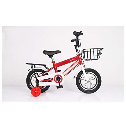 KXDLR Kinderfiets voor jongens en meisjes, voor kinderen van 2-9 jaar, 12 14 en 18 inch, met steunwielen, kinderfiets, rood, 12 inch