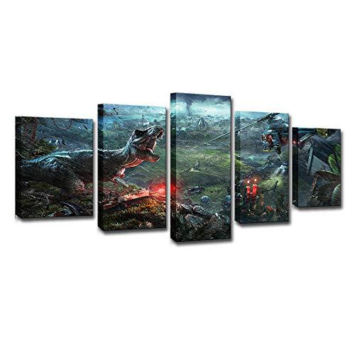 WLHZNB Impresiones sobre Lienzo Jurassic World Evolution 5 Piezas De Lienzo De Impresión De Alta Definición Pintura Moderna Artista Decoración del Hogar Tamaño B