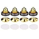 Guajave 4 Set Oro Altavoz Clavos Aislamiento CD Amplificador Tocadiscos Almohadilla Soporte Pies Doble Cara Adhesivo