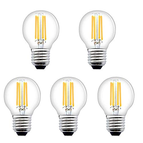 Bonlux E27 Dimmable LED Filament Light Bulbs,4W G45 Golf Ball Bulbs, Mini Vintage Golbe Bulbs, Classic E27 Edison Screw Lamp, Warm White 2700K Clear Glass, String Lights (5-Pack)[Energy Class A+]