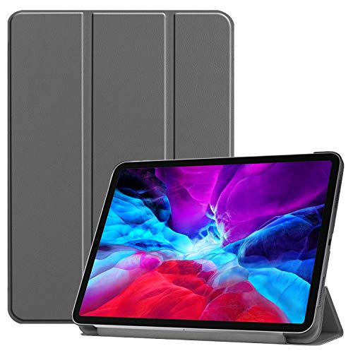 Claelech Funda magnética para iPad Pro 12.9 2020, Ultra Slim Smart Cover con función de encendido y apagado para 2020 iPad Pro de 12,9 pulgadas con tapa de piel, soporte de carga de lápiz para iPad gris