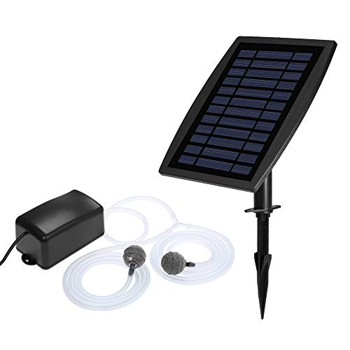 Nishore Bomba de Aire Solar con Acuario Tanque de Peces Solar Bomba de Oxígeno Oxigenador Acuario Oxígeno Aireador Estanque Aireador Bomba de Aireador de Pesca Acuario Tubo de Oxígeno
