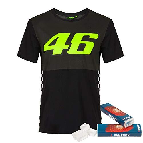 Valentino Rossi T-Shirt 46 Race MotoGP Fanartikel Oberteil VR46 schwarz + 2X FANERGY Traubenzucker (XXL)