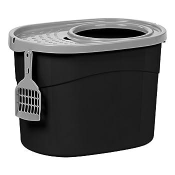 Iris Ohyama, Maison de toilette pour chat avec couvercle à trous, entrée par le haut et pelle - Top Entry Cat Litter Box - TECL-20, plastique, noir, 53 x 39 x 56.9 cm
