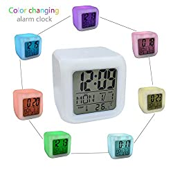 LiXiongBao Glowing Alarm Clock 7 LED Color, Digital Alarm Thermometer Night Glowing Cube 7 Colors Clock LED Change LCD with Data and Temperature Display for Bedroom Child (Changeable Color)