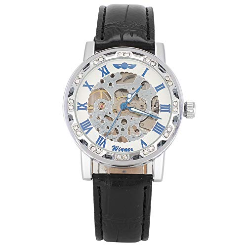 GSX Reloj de Hombre Decoración Mecánica Automática De Diamantes De Imitación De Dibujo Redondo De Hombre Puntero De Luz De Luz Mecánico Mecánico Diario Impermeable Reloj Negro Correa Plata Esfera