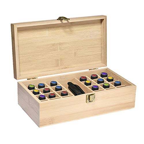 Wooden Essential Oil Case Essential Oil Storage Box Aromatherapy Carrying Box For Travel Presentations, 24 Compartments + 1 Large Slot