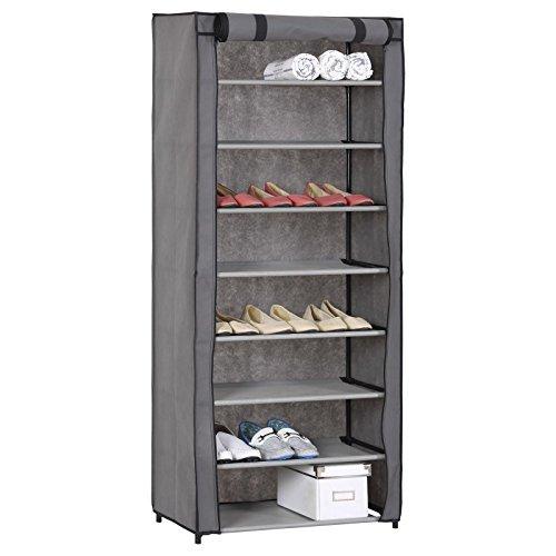 IDIMEX Schuhschrank Schuhregal Kellerschrank Kellerregal Tamara, mit 8 Böden für ca. 25 Paar Schuhe, inkl. Schutzhülle in grau