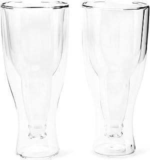 Balvi Vaso Cerveza Gravity Set de 2 Vasos de 400 ml Doble Pared Mantiene el Frio Forma de Botella del revés Vidrio