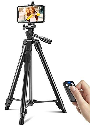 Cocoda Treppiede Smartphone, 126 CM Cavalletto per Smartphone Estensibile per Registrazione Video, Treppiede Fotocamera Leggero 360 Gradi con Telecomando Bluetooth per iPhone, Fotocamera, GoPro