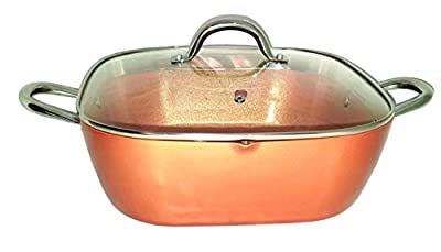 Copper XL Pan 12 Inch 6 Qt. Deep Square Pan With Tempered Glass Lid, Pour Spout Round Handles Induction Base Dishwasher Safe