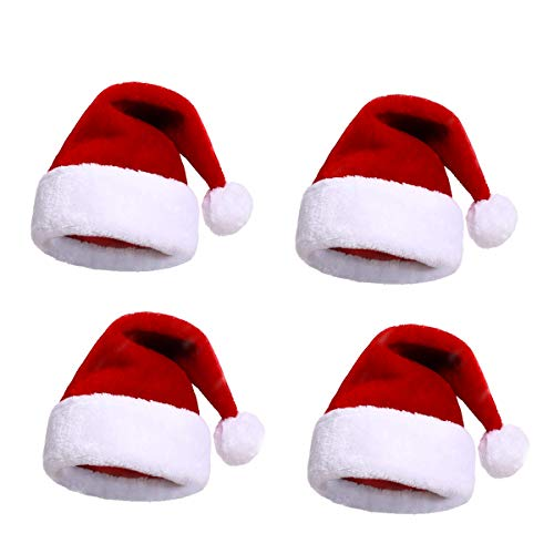 Adults Santa Hat Bulk Christmas Hat santa claus hats Christmas Santa Hats for Women/Men/Kids/teens(4 pack)