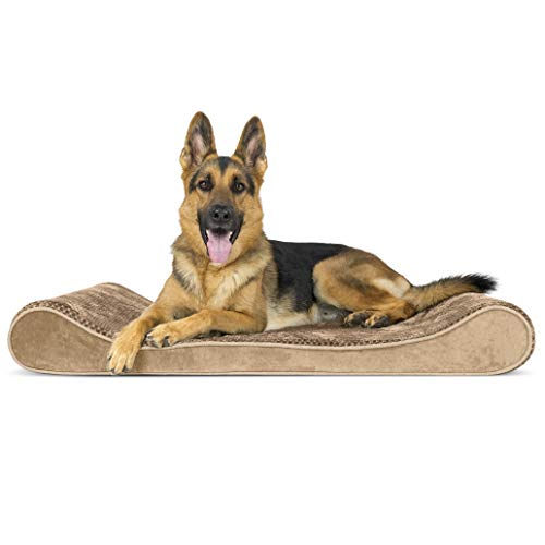 Furhaven Pet Dog Bed - Orthopedic Minky Plush and Velvet Ergonomic Luxe Lounger Cradle Mattress Contour Pet Bed with Removable Cover for Dogs and Cats, Camel, Jumbo