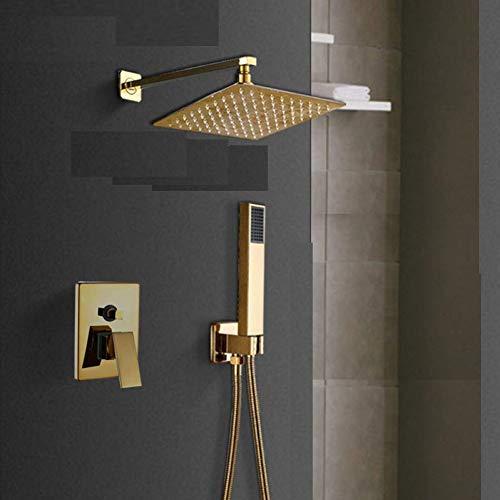 STEDMNY Duschsystem Gold Wandhalterung Badezimmer Regen Wasserfall Duscharmaturen Set UnterputzDuschsystem Badewanne Dusche Mischbatterie Wasserhahn
