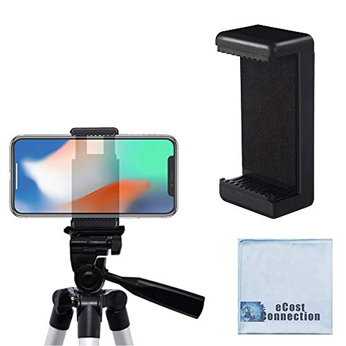 Acuvar Universal Tripod Smartphone Mounts with Dual Mounting Points for iPhone, Android, and All Smartphones up to 3.5' Wide + Microfiber Cloth