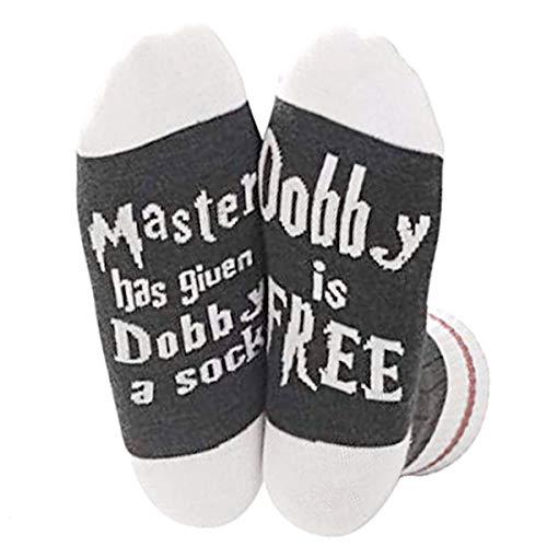 Schimer Funny sokken voor vrouwen vriendin mr dames knuffelige sokken met meester heeft dobby een sok gegeven, dobby is gratis sokken, gift valentine, voor Harry fans vrouwen mannen, maat 35-45