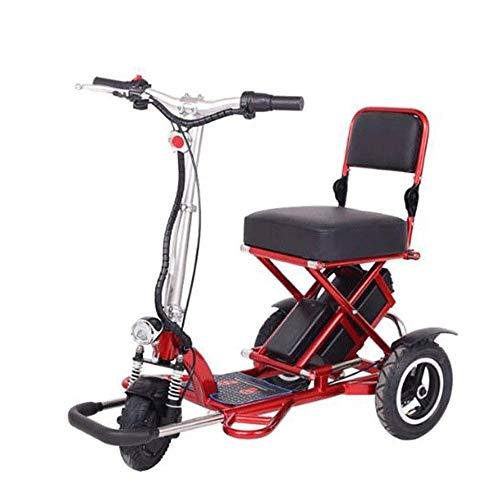 FUJGYLGL Portable Adulto del Scooter eléctrico, Cuerpo de aleación de Aluminio, Plegable, Seguro y cómodo, traslada Objetos, Estructura Positiva de Tres Ruedas, fácil Caer