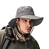 Fishing hat Wide Brim Sun Protection Hat with Breathable Safari hat and Fisherman hat Hiking Hats for Man Woman (Gray)