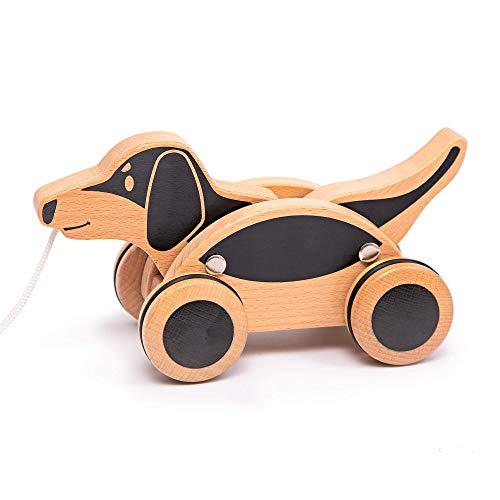 IGGY Premium Nachziehhund Dachshund Wird aus massivem Buchenholz hergestellt – Beweglicher Kopf und Schwanz – Räder mit Gummiüberzug – Nachziehspielzeug ab 1 Jahr, EN 71 getestet, deutsches Design