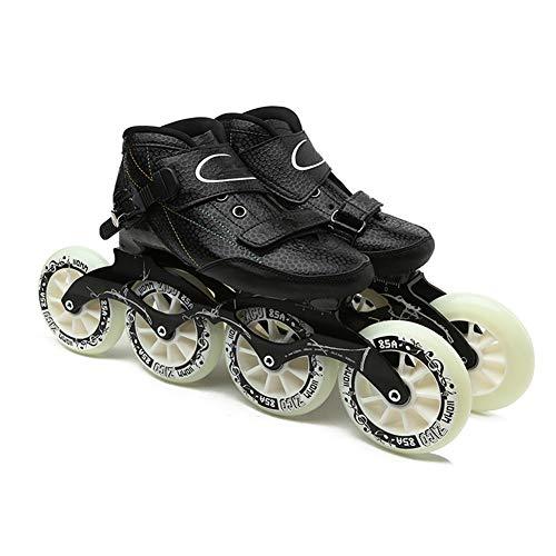 COMY Schlittschuhe Speed Skate Carbon-Faser-Inline Speed Skates 4 * 90/100/110mm Räder Profi-Rennradschuhe Inline-Rollschuhe für Kinder & Erwachsene,46
