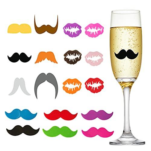 MHwan segna bicchiere, segna bicchieri colorati, 18 pezzi Marcatori per bicchieri da vino riutilizzabili Marcatori per bevande resistenti al calore per decorazioni da bar per feste