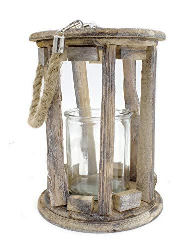 DARO DEKO Holz-Laterne mit Kerzenglas und Seil-Griff S - Ø 14 x 19cm