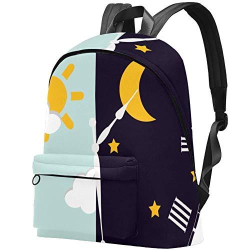 Uhr Zifferblatt Blauer Himmel Wolken Und Sonne Mond Sterne Nacht Bag Teens Student Bookbag Leichte Umhängetaschen Reiserucksack Tägliche Rucksäcke